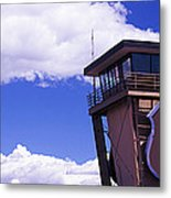 High Section View Of Railroad Tower Metal Print