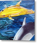 High Tech Dolphins Metal Print by Thomas J Herring