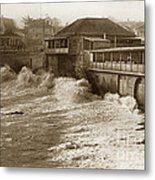 High Tide And Big Waves At Lovers Point Beach Pacific Grove California Circa 1907 Metal Print
