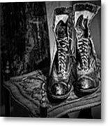 High Top Shoes - Bw Metal Print
