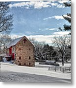 Highland Farms In The Snow Metal Print