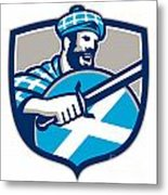Highlander Scotsman Sword Shield Retro Metal Print