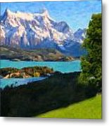 Highlands Of Chile  Lago Pehoe In Torres Del Paine Chile Metal Print