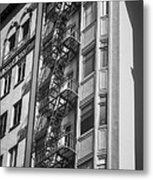 Highrise Fire Escape Bw Metal Print