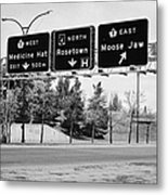 highway 1 intersection directions swift current Saskatchewan Canada Metal Print