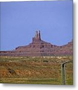 Highway 163 Leading Into Monument Valley With Rock Formations In Metal Print