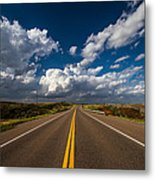 Highway Life - Blue Sky Down The Road In Oklahoma Metal Print