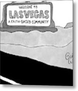 Highway Sign That Says Welcome To Las Vegas Metal Print