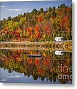 Highway Through Fall Forest Metal Print