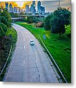 Highway Traffic Near A Big City Metal Print