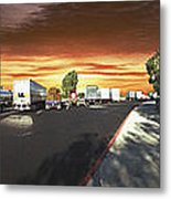Highway Truck Stop Sunset Panorama Metal Print