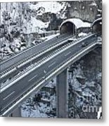 Higway Tunnel With A Bridge Metal Print