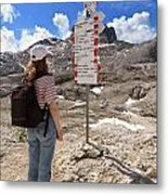 Hiker And Directions Metal Print