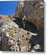 hiker in Dolomites Metal Print