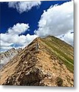 Hiker On Mountain Ridge Metal Print