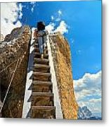 Hiker On Wooden Staircase Metal Print