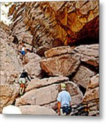 Hikers Enter Ladder Canyon From Big Painted Canyons Trail In Mecca Hills-ca  Metal Print