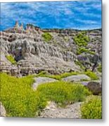 Hiking In The Badlands Metal Print