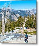 Hiking On Barren Rock On Sentinel Dome In Yosemite Np-ca Metal Print