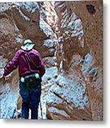 Hiking Through Narrow Slot Of Ladder Canyon Trail In Mecca Hills-ca Metal Print