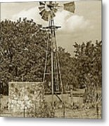 Hill Country Windmill Metal Print