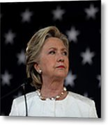 Hillary Clinton Campaigns Across Metal Print