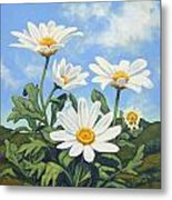 Hills And White Daisies Metal Print by James Derieg