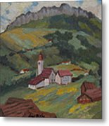 Hilltop Village Switzerland Metal Print