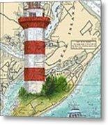 Hilton Head Island Lighthouse Sc Nautical Chart Map Art Cathy Peek Metal Print