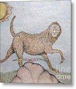 Himalaya Monkey Dragonfly Encounter Metal Print