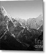 Himalaya Mountains Black And White Metal Print