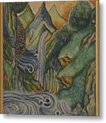 Himalayan Landscape With Turbulent Water Metal Print