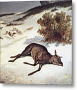 Hind Forced Down In The Snow Metal Print