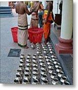 Hindu Priests Prepare Offering To Gods Metal Print
