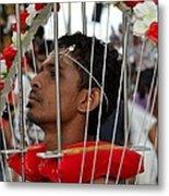 Hindu Thaipusam Festival Pierced Devotee In Singapore Metal Print