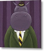Hippo Nursery Art Metal Print by Christy Beckwith