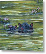 Hippos And Hyacinths Metal Print