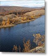 Historic Alaska Gold Dredge In Fall Metal Print