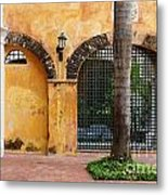Historic Colonial Courtyard In Colombia Metal Print