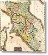 Historic Map Of Tuscany 1814 Metal Print