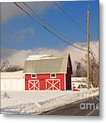 Historic Red Barn On A Snowy Winter Day Metal Print