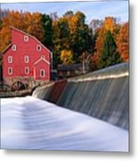 Historic Red Mill At Fall Clinton New Jersey Metal Print