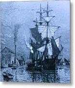 Historic Seaport Blue Schooner Metal Print by John Stephens