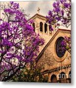 Historic Sierra Madre Congregational Church Among The Purple Jacaranda Trees  Metal Print