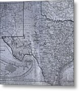 Historic Texas Map Metal Print by Dan Sproul