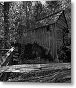 Historical 1868 Cades Cove Cable Mill In Black And White Metal Print