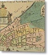 Historical Manhattan Map 1728 Metal Print
