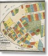 Historical Map Of Manhattan Metal Print