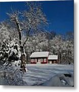 Historical Society House In The Snow Metal Print