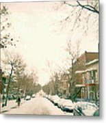 Hiver Psc Winter In The Point Snowy Day Paintings Montreal Art Cityscenes Brick Houses Snowed In Metal Print